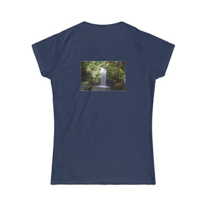 Women's Softstyle Tee - Jose enjoying El Yunque rain forest pond after hike, waterfall on back T-Shirt Printify