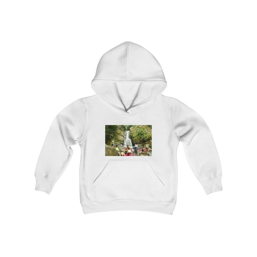 Youth Heavy Blend Hooded Sweatshirt - La Mina and La Coca waterfalls - EYNF - El Yunque Rain Forest Puerto Rico - Yunque Store