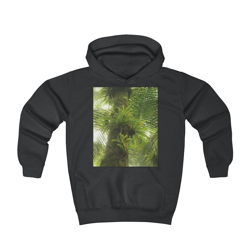 Youth Hoodie - Bromeliads and lizard in back / Bromelias y largarto en El Yunque rainforest PR - Yunque Store