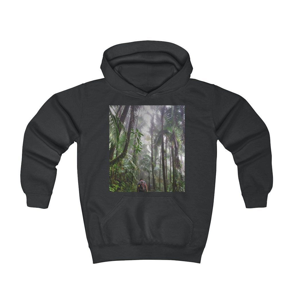 Youth Hoodie - Fruit Of The Loom 996Y - El Yunque rainforest Puerto Rico - Jose on El Yunque cloud forest trails - Yunque Store