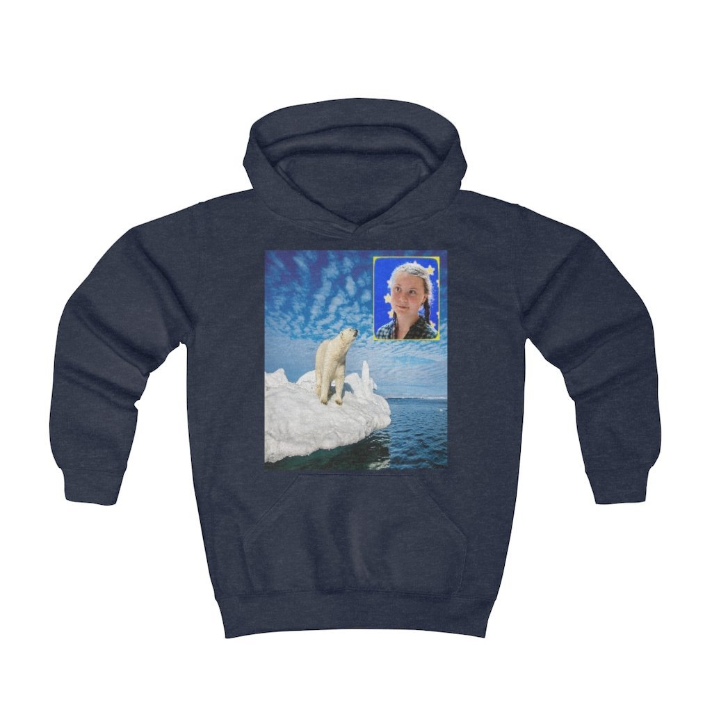 Youth Hoodie - Fruit Of The Loom 996Y - Greta and Global Warming image of melting poles - Small CO2 Keeling curve on back and Amazon forest fires - Yunque Store