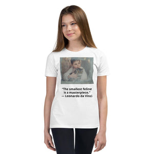 "Youth Short Sleeve T-Shirt - 100% cotton - Image of boy with cat and quote: ""The smallest feline is a masterpiece."" ― Leonardo da Vinci - Yunque Store"