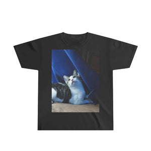 Youth Ultra Cotton Tee - Home cat Dante dazzled by curtains movement and sunlight - Isabela, Puerto Rico - Yunque Store