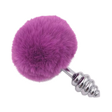 Multi size Stainless Silicone Purple Bunny Tail Plug