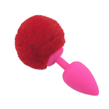 Multi size Stainless Silicone Red Bunny Tail Plug