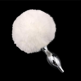 Multi size Stainless Silicone White Bunny Tail Plug