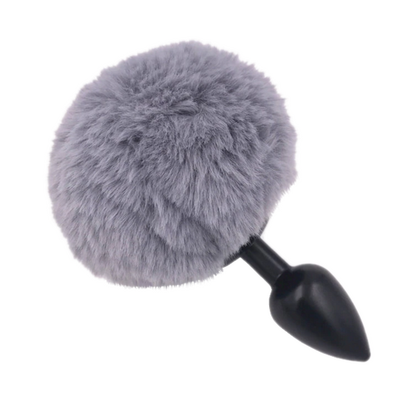 Multi size Stainless Silicone Gray Bunny Tail Plug