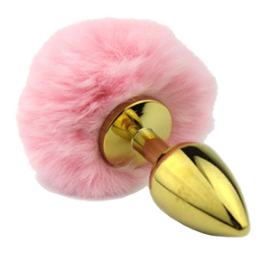 "2"" Golden Metal Variety of colors Bunny Tail Plug"