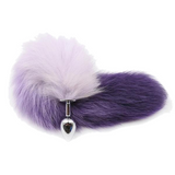 "14"" Stainless Steel Purple and White Cat Tail Plug"