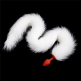 "33"" Silicone White Fox Tail Plug"
