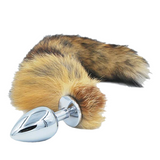 3 Sizes Stainless Steel Brown Fox Tail Plug