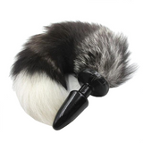 "15"" Silicone Black Fox Tail Plug"