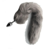"14"" Stainless Steel Gray Furry Tail Plug"