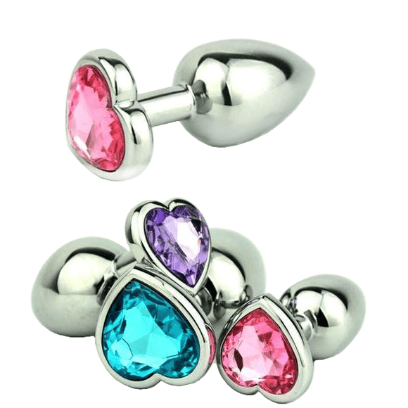 Jeweled Heart-shaped Metal Princess Plug, 10 Colors 3