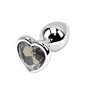 Jeweled Heart-shaped Metal Princess Plug, 10 Colors 3""