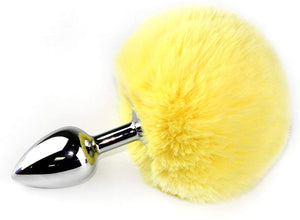 "3"" Stainless Steel Yellow Bunny Tail Plug"