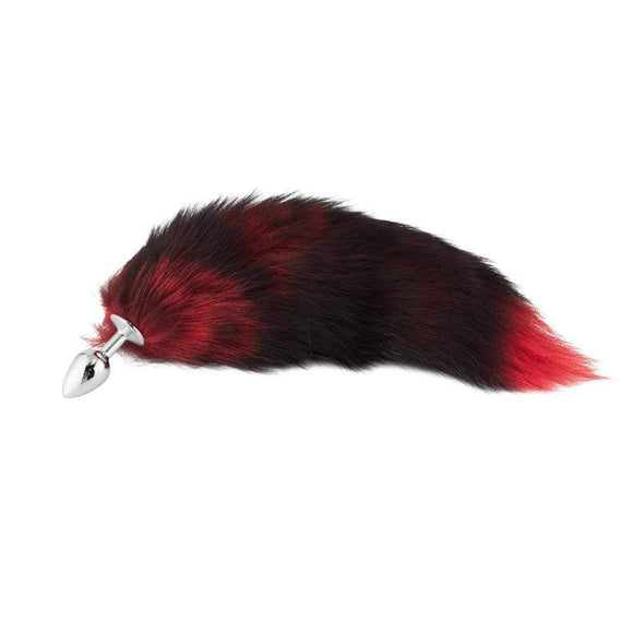Fox Tail Plug, Black with Red 16