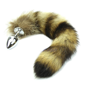 "11"" Stainless Steel Brown Fox Tail Plug"