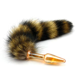 "13"" Pyrex Glass Brown Fox Tail Plug"