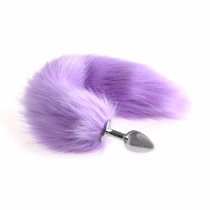 "13"" Stainless Steel Purple Faux Tail Plug"