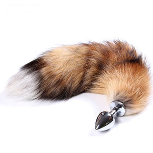 "18"" Stainless Steel Brown Fox Tail Plug"
