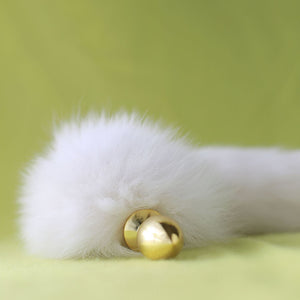 "14"" Gold Metal White Furry Tail Plug"