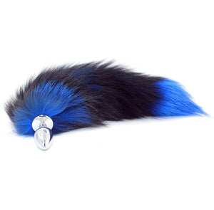 "16"" Stainless Steel Black Blue Faux Tail Plug"