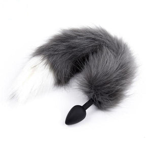 "17"" Silicone Gray Cat Tail Plug"