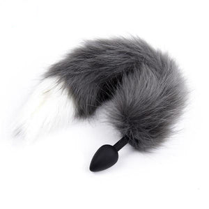 Silicone Black and White Wolf Tail Plug