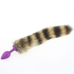 "13"" Silicone Brown Raccoon Tail Plug"