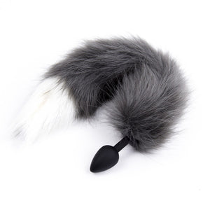 "9"" Silicone Gray Wolf Tail Plug"