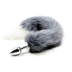 "9"" Stainless Steel Gray Wolf Tail Plug"