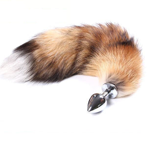 "27"" Stainless Steel Brown Fox Tail Plug"