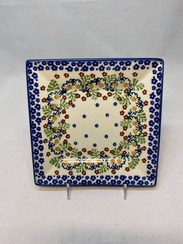 Blue Flower Rim Square Plate
