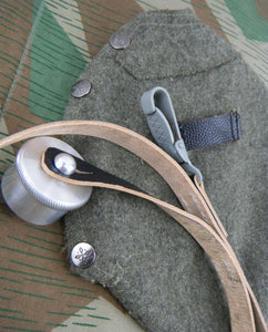WWII German Canteen's Wool Felt Cover & Leather Carry Strap 1L