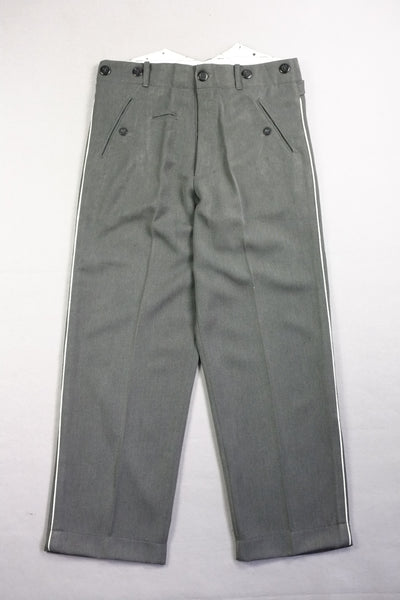 WW2 Stone Grey Gabardine Straight Leg Piped Dress Pants Trousers