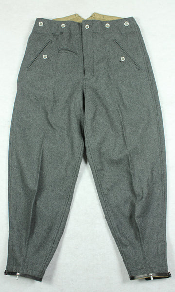 WWII German Mountain Troops M37 Stone Gray Wool Trousers Pants