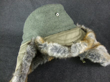 Load image into Gallery viewer, WW2 German Officer Fur Winter Cap + Metal Cockade