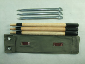 WWII German Aluminum Tent Pegs Zeltbahnen Bag Set