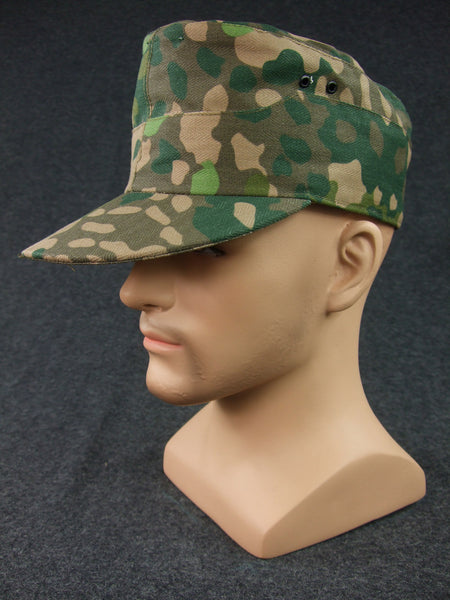 WW2 German Waffen Elite 44 Pea Dot Camo Field Cap With Badge