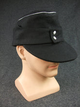 Load image into Gallery viewer, WWII German WH Panzer Black Wool Field Cap Officer Reproduction