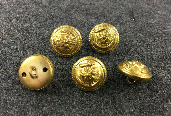 WW2 IJN Japanese Imperial Navy Buttons 16 mm X5