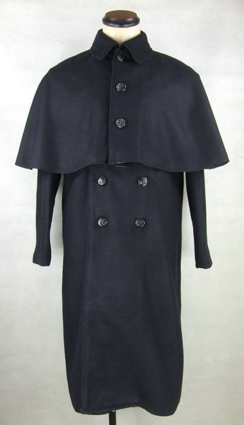 WWII IJN Soldier Dark Blue Wool Great Coat + Mantle