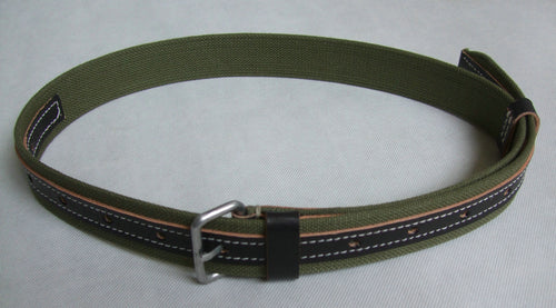 WWII Russia Red Army EM Webbing Belt Green Canvas Black Leather