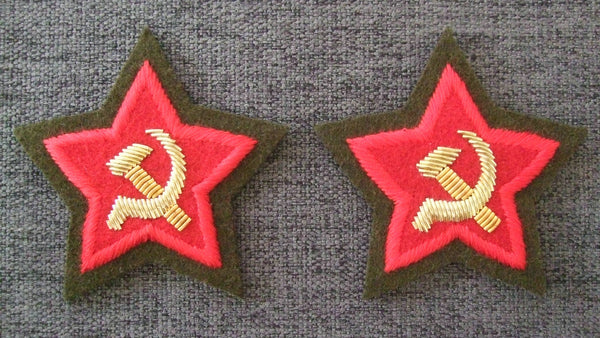 WW2 Soviet Union Russia Commissar Sleeve Star Patch Pair
