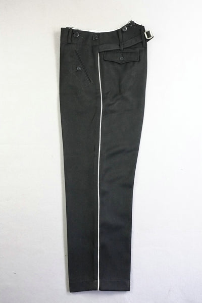 WW2 German Elite Straight Leg Piped Pants Black Gabardine