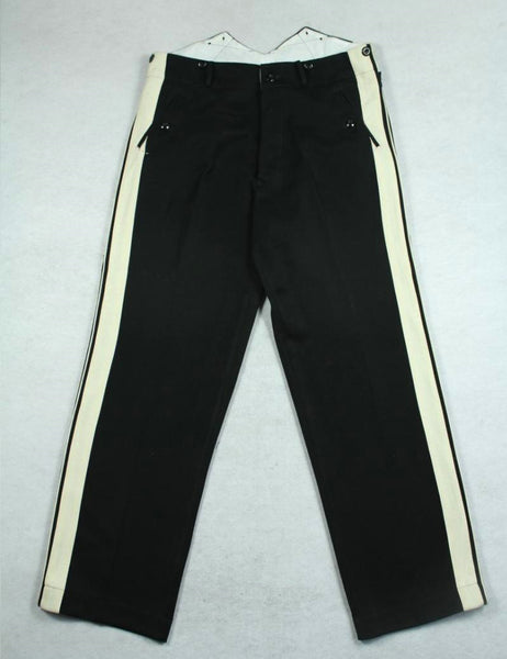 WWII German General Black Gabardine Trousers Pants White Stripes