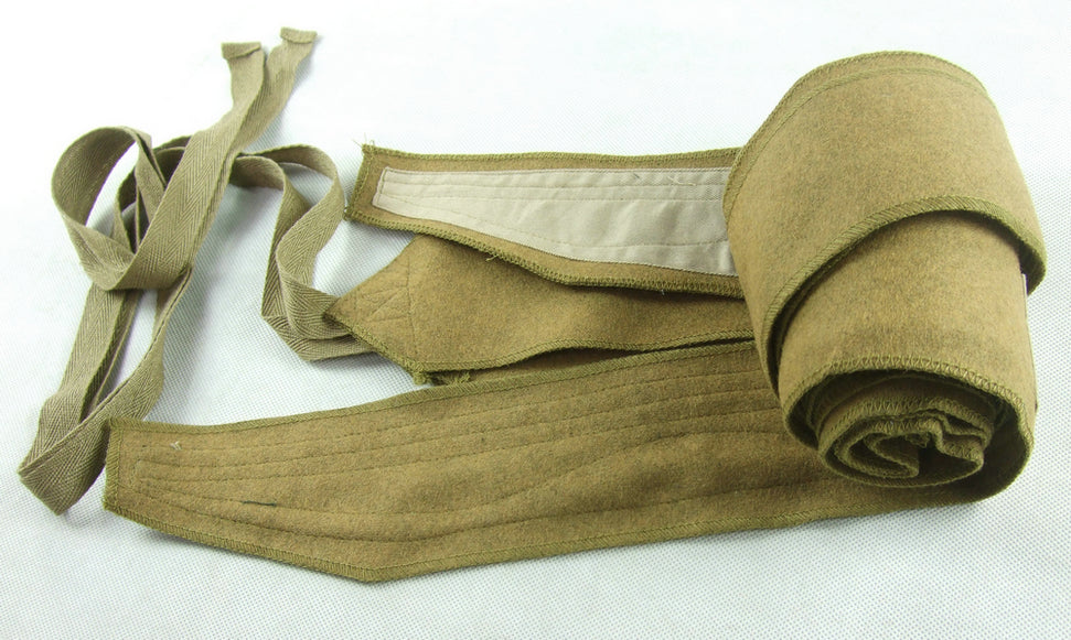 WWII Italy Italian Tropical Sand Wool Leggings Puttee Pair