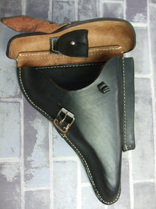 WW2 German P08 Hard Shell Holster Black Leather