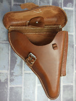 WW2 German P08 Hard Shell Holster Brown Leather